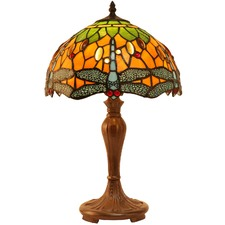 Classical Green & Orange Dragonfly Tiffany Style Bedside Lamp