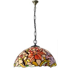 Oriental Lily Tiffany Style Pendant Light