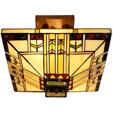 Mission Tiffany-Style Semi Flush Mount Light