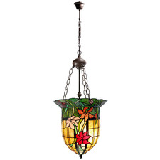 Antique Bell Shade Tiffany-Style Pendant Light
