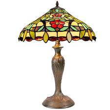 Daisy & Green Leaf Tiffany-Style Table Lamp