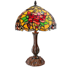 Red Camellia Tiffany-Style Bedside Lamp