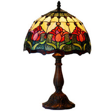 Red Tulip Tiffany-Style Bedside Lamp