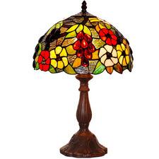 Grape & Flower Tiffany-Style Bedside Lamp