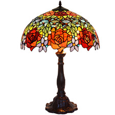 Blooming Rose Tiffany-Style Table Lamp