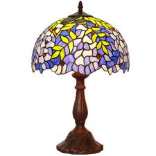 Blue Wisteria Tiffany-Style Bedside Lamp