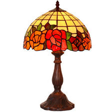 Red Rose Tiffany-Style Bedside Lamp