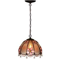 Pink Daisy Tiffany-Style Pendant Light