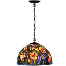 Magnolia Flower Tiffany-Style Pendant Light