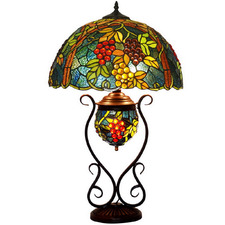Traditional Grape Tiffany-Style Table Lamp