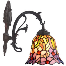 Orchid Flower Tiffany-Style Wall Sconce