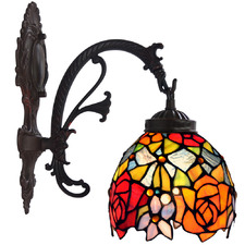 Red Floral Tiffany-Style Wall Sconce