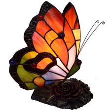 Stunning Red Butterfly Tiffany-Style Table Lamp