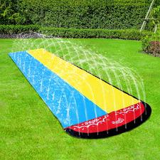 Double Water Slide with Built-In Sprinklers