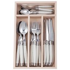 24 Piece Debutant Mirror White Cutlery Set