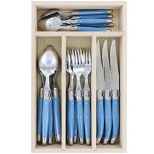 24 Piece Blue Laguiole Debutant Cutlery Set