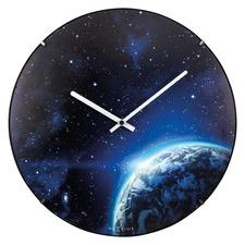 Blue Luminous Globe Dome Wall Clock