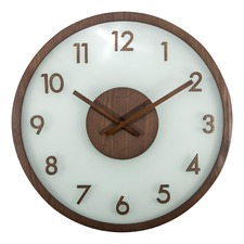 50cm Round Wood & Frosted Glass Clock