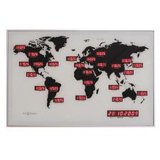 White NeXtime World Digital Wall Clock