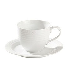 Arctic White Large Tea Cup and Saucer Set (Set of 4)