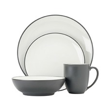 Colorwave Graphite 16 Piece Coupe Dinner Set