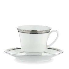 Regent Platinum Tea Cup and Saucer Set (Set of 4)