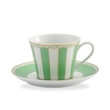 Carnivale Cup and Saucer Set in Apple Green