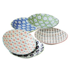 5 Piece 22cm Porcelain Deep Plate Set