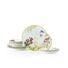 12 Piece Hummingbird Meadow Dinner Set