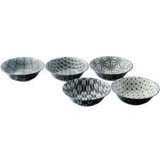 5 Piece Komon Japanese Porcelain 16.5cm Rice Bowl Set