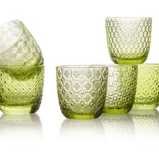 IVV Leaf Green Sixties 310ml Glass Tumblers (Set of 6)