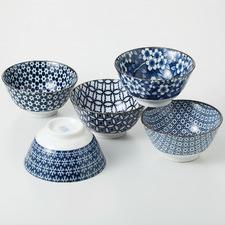 Indigo & White Noritake 13cm Japanese Porcelain Noodle Bowls (Set of 5)