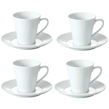 White Conifere Coffee Cups & Saucers (Set of 4)