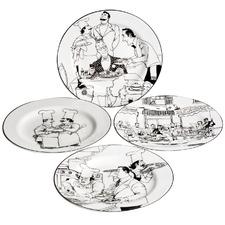 4 Piece Le Restaurant Porcelain Entrée Plate Set