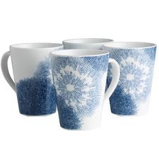 4 Piece Aozora 350ml Porcelain Mug Set