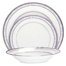 12 Piece Noritake Platinum Hampshire Porcelain Dinnerware Set