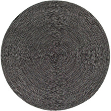 Charcoal Seasons Stripes Round Outdoor Rug