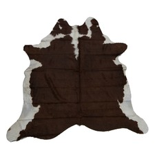 Grey & Dark Ochre Genuine Cow Hide Rug