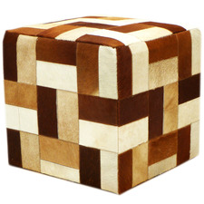 Brown Geometric Patchwork Cow Hide Ottoman