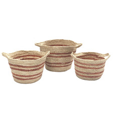 3 Piece Stripe Corn Basket Set