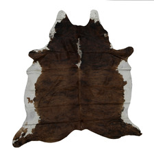 Light Brown & Black with White Belly Cow Hide Rug