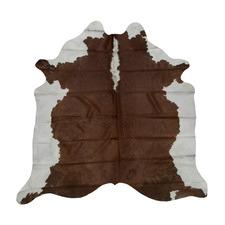 Solid Dark Brown & White Cow Hide Rug