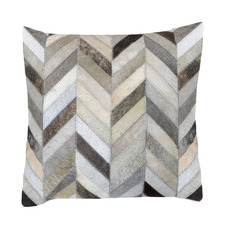 Grey Small Herringbone Cow Hide Cushion