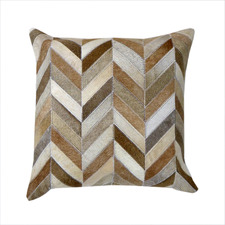 Brown Herringbone Cow Hide Cushion