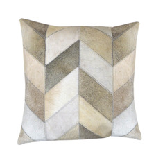 Grey Medium Herringbone Cow Hide Cushion