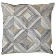 Grey Diamond Star Cow Hide Cushion