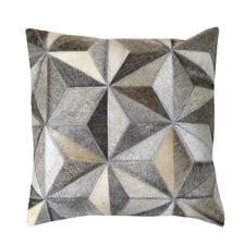 Brown & Grey 3D Triangle Cow Hide Cushion