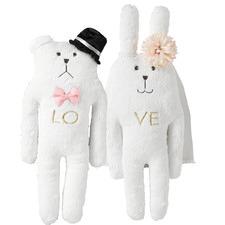 2 Piece Wedding Bunny & Bear Plush Toy Set