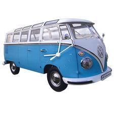 Classic Blue Volkswagen T1 Bus Wall Clock
