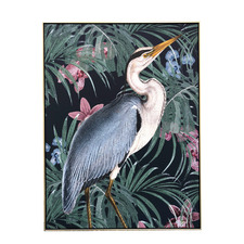 Tropical Heron Framed Canvas Wall Art